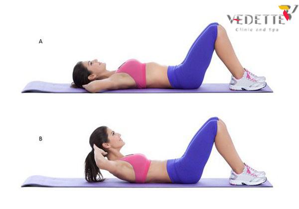 tư thế gập bụng nằm giảm mỡ bụng